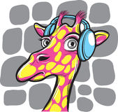 Curious giraffe with headphones stock illustration