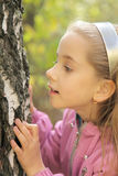 The curious girl. Examines bark of old tree royalty free stock photos