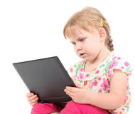 Curious girl with laptop Royalty Free Stock Photo