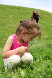 Curious Girl With Magnifying Glass Examining Flowers In The Grass At Spring Time royalty free stock image