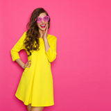 Curious Girl In Pink Sunglasses Stock Photography