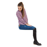 Curious Girl Sitting On Top And Looking Down Royalty Free Stock Images