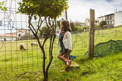 Curious girl watching the sheeps in the countryside. Asturias. Spain Royalty Free Stock Image