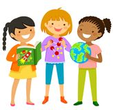 Curious girls learning about science. Curious girls learning about scientific subjects through books and other items Stock Photo