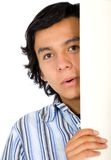 Curious guy peeking Royalty Free Stock Images
