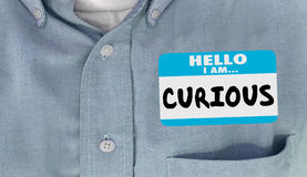 Curious Hello I Am Questioning Interested Name Tag. 3d Illustration Royalty Free Stock Images
