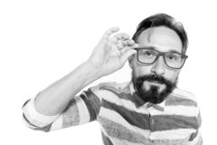 Curious Hipster in glasses on white background. Fish-eye portrait of bearded guy in glasses. Surprised poindexter on white. Nerd g royalty free stock photography