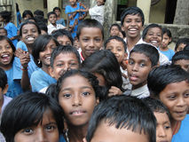 Curious Indian school children Royalty Free Stock Photography