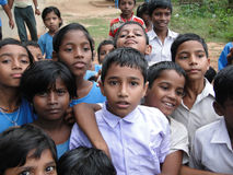 Curious Indian school children Stock Image