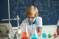 Conducting experiment. Curious kid conducting experiment in school laboratory Stock Photography