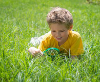Curious kid on the meadow looking the grass with a magnifying glass. Cute boy doing experiments outdoors. Royalty Free Stock Photography