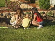 Curious Kids. This is a shot of 3 young girls digging in the garden stock photo