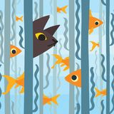 Curious kitty watching aquarium fish swimming among seaweed. Conceptual artwork. Vector illustration of kitty hunting. Fish in flat style. Element for your Stock Image