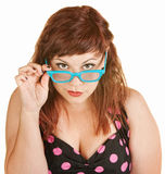 Curious Lady with Glasses Royalty Free Stock Images