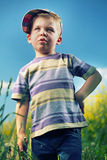 Curious little boy on the meadow Stock Photo