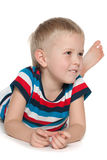 Curious little boy on the white Stock Images