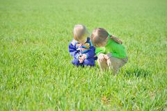 Curious little girls in the grass Royalty Free Stock Photo