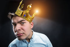 Curious man with crown Royalty Free Stock Images
