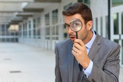 Curious man discovering something amazing royalty free stock photo
