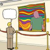 Curious Man Looking at Artwork Stock Image