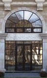 The Architecture of Skopje. Stained glass with reflections. Macedonia. stock images