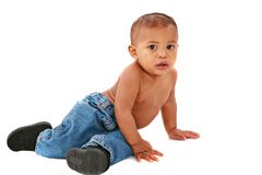 Curious One Year Old African American Baby Boy Stock Image