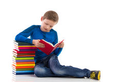 Curious schoolboy reading a book Stock Photography