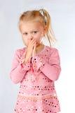 Curious shy little girl Stock Photo