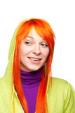Curious smiling red hair woman Stock Images