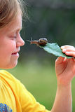 Curious snail. On a leaf and a child's face Stock Photo