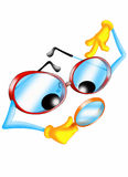 Curious spectacles. Color illustration of a pair of glasses with magnifying glass Royalty Free Stock Photos