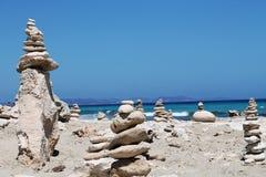 Curious stones. In Formentera island Stock Photos