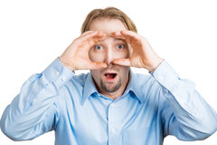 Curious surprised spy Royalty Free Stock Photography