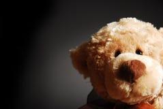 A curious Teddy bear. A curious, peering Teddy bear on a dark background stock photos