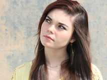 Curious Teen Long Hair Royalty Free Stock Photos