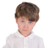 Curious Thinking Boy on White Stock Photography