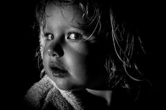 Curious toddler black and white side profile Royalty Free Stock Images