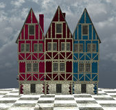 A curious town. A surreal town. A 3D graphic work Royalty Free Stock Images