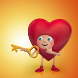 Curious Valentine heart cartoon holding key Royalty Free Stock Image