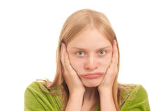 Curious woman deforming face like clown on whi Royalty Free Stock Photos