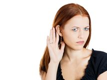 Curious woman listening Royalty Free Stock Photo