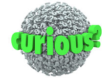 Curious Word Question Mark Ball Sphere Inquisitive Ask Answers Stock Image