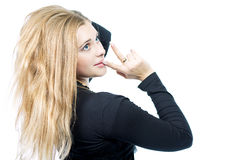 Curious young caucasian blond woman Stock Photo