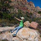 Curious young girl exploring nature royalty free stock photos