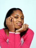 Curious young lady. Young African American lady expresses curiosity royalty free stock photo