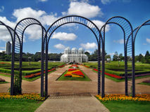 Curitiba botanical gardens. Brazil Curitiba flowers archway greenhouse flowers red flowers yellow flowers royalty free stock photos