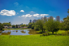 CURITIBA, BRÉSIL - 12 MAI 2016 : vue gentille d'horizon de la ville du parc botanique, petit lac à l'intérieur du parc Photos libres de droits