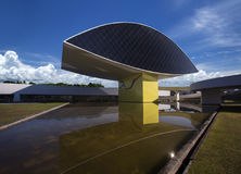 Curitiba, Brasil - em julho de 2017: Oscar Niemeyer Museum, ou SEGUNDA-FEIRA, dentro fotos de stock