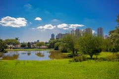 CURITIBA, BRASILIEN - 12. MAI 2016: nette Skylineansicht der Stadt vom botanischen Park, kleiner See innerhalb des Parks Lizenzfreie Stockfotos