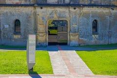 CURITIBA BRASILIEN - MAJ 12, 2016: ingången av paiolteatern, builded i 1874 byggdes den ursprungligen som militärt fort royaltyfri foto